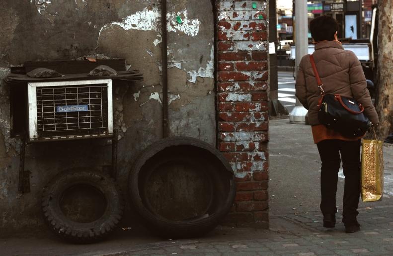 Woman Purse Tires AC Unit